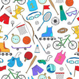 Seamless illustration with colorful icons on the theme of summer sports Stock Photography
