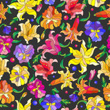 Seamless illustration with colorful stained glass flowers on a dark background. Seamless background with spring flowers in stained glass style, flowers, buds and Stock Photos