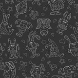 Seamless illustration  with contour images of cartoon rabbits , white outline on a dark background Royalty Free Stock Photos