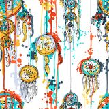 Seamless  illustration with dream catchers Stock Images