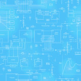Seamless illustration  with elements of electronic circuits, in the style of technical documentation , the bright outline on a blu Stock Photos