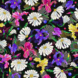 Seamless illustration with flowers and leaves of daisies and irises on a dark background. Seamless pattern with spring flowers in stained glass style, flowers Stock Images