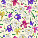 Seamless illustration with flowers and leaves of daisies and irises on a light background. Seamless pattern with spring flowers in stained glass style, flowers Royalty Free Stock Photography