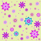 Seamless illustration of flowers. Seamless vector illustration of flowers on a yellow background Stock Image