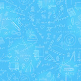 Seamless illustration with formulas and charts on the topic of mathematics and education Stock Image
