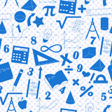 Seamless illustration with formulas and charts on the topic of mathematics and education, a blue silhouettes of icons on the backg Stock Image