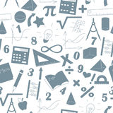 Seamless illustration  with formulas and charts on the topic of mathematics and education, a grey silhouettes of icons on the ligh Stock Image