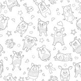 Seamless illustration with funny cartoon pigs , dark outline on a white background. Seamless pattern with funny cartoon pigs , dark outline on a white background royalty free illustration