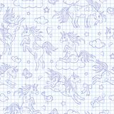 Seamless illustration  with funny cartoon unicorns, hearts and stars blue  contour  icons on the clean writing-book sheet in a cag. Seamless pattern with funny Stock Photo