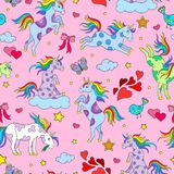 Seamless illustration with funny cartoon unicorns, hearts and stars color icons on pink background. Seamless pattern with funny cartoon unicorns, hearts and Stock Photo
