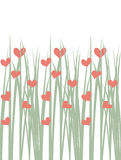 Seamless illustration of green grass with hearts Royalty Free Stock Photo