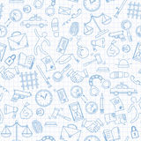 Seamless illustration with hand drawn icons on the theme of law and crimes, blue  contour  icons on the clean writing-book sheet i. Seamless pattern with hand Royalty Free Stock Image