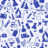 Seamless illustration with hand drawn icons on a theme medicine and health,  a blue silhouettes of icons on the background of polk. Seamless pattern with hand Royalty Free Stock Image