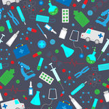 Seamless illustration  with hand drawn icons on a theme medicine and health, the colored icons on grey background. Seamless pattern with hand drawn icons on a Royalty Free Stock Photos