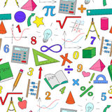 Seamless illustration with hand-drawn simple drawings on the theme of mathematics Royalty Free Stock Image