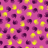 Seamless illustration with hand prints, seamless background Stock Images