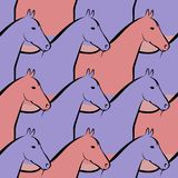 Seamless illustration of a herd of horses Royalty Free Stock Images