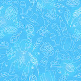 Seamless illustration for holiday Thanksgiving day,,light contour icons on blue background Stock Photo