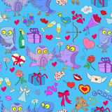Seamless illustration with owls in love Valentine`s day. Seamless pattern with hand drawn owls and icons on the theme of Valentine Stock Photo