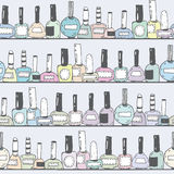 Seamless  illustration with pastel nail polish bottles on horizontal shelves. Pattern hand drawn with imperfections. Good fo Stock Photography