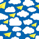 Seamless illustration pattern of paper airplanes with cloud. Blue seamless illustration pattern of paper airplanes with clouds royalty free illustration