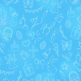 Seamless illustration  with simple contour icons on the theme of the Easter holiday , bright contours on a blue background Stock Photos