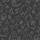 Seamless illustration  with simple contour icons on the theme of the Easter holiday , bright contours on a dark background Royalty Free Stock Photo