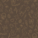 Seamless illustration with simple contour icons on a theme the holiday of Easter , beige contours on brown background Royalty Free Stock Photos