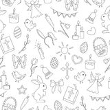 Seamless illustration with simple contour icons on a theme the holiday of Easter , dark contours on white background Royalty Free Stock Image
