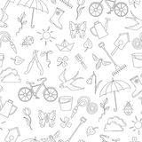 Seamless illustration  with simple contour icons on the theme of spring , dark outline on a white background. Seamless pattern with simple contour icons on the Stock Images