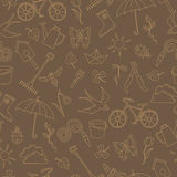 Seamless illustration with simple contour icons on the theme of spring , light outline on a brown background Royalty Free Stock Images