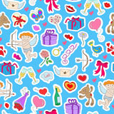 Seamless illustration with simple hand-drawn icons labels on the theme of Valentine`s day on a blue backing. Seamless background with simple hand-drawn icons Stock Photo