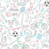 Seamless illustration with simple hand-drawn icons on the sports theme, the colored contour on white background Royalty Free Stock Photo