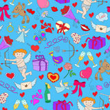 Seamless illustration with simple hand-drawn icons on the theme of Valentine`s day on a blue substrate Stock Photos