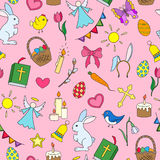 Seamless illustration  with simple icons on a theme the holiday of Easter ,colored icons on pink background Royalty Free Stock Photo