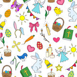 Seamless illustration with simple icons on a theme the holiday of Easter ,colored icons on white background Stock Images