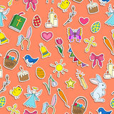 Seamless illustration  with simple icons on a theme the holiday of Easter ,colored  stickers icons on orange background Royalty Free Stock Photos