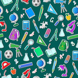 Seamless illustration with simple icons on a theme school on green background Royalty Free Stock Images