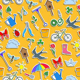 Seamless illustration  with simple icons on a theme of spring , colored stickers on a orange background Stock Photography