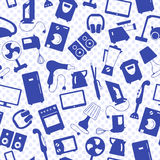 Seamless illustration with a simple  icons on the topic of household appliances, a blue silhouettes of icons on the background of Royalty Free Stock Photography
