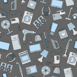 Seamless illustration with a simple  icons on the topic of household appliances, a colored icons on a dark background Stock Image