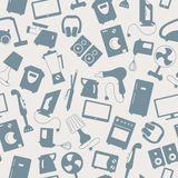 Seamless illustration  with a simple  icons on the topic of household appliances, a grey silhouettes of icons on a light backgroun Stock Photography