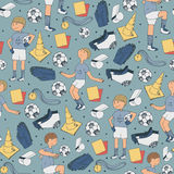 Seamless  illustration with soccer players and football accessories in random position on blue background. Hand drawn illust Royalty Free Stock Photo