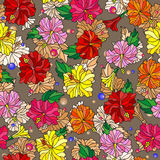 Seamless illustration  with spring flowers in stained glass style, flowers, buds and leaves of  hibiscus on a abstract background. Seamless pattern with spring Stock Image