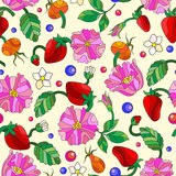 Seamless illustration with spring flowers in stained glass style, flowers, buds and leaves of  rosehip and strawberry on a light b Stock Photos