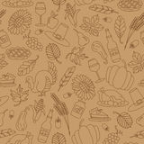 Seamless illustration of Thanksgiving,contour icons on brown background Stock Photo
