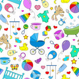 Seamless illustration  on the theme of childhood and newborn babies, baby accessories, accessories and toys, simple color icons on. Seamless pattern on the theme Stock Images