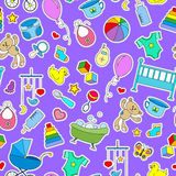 Seamless illustration on the theme of childhood and newborn babies, baby accessories and toys, simple color patches icons on purpl. Seamless pattern on the theme Stock Photos