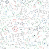 Seamless illustration  on the theme of childhood and newborn babies, baby accessories and toys, simple contour icons, drawn with c. Seamless pattern on the theme Royalty Free Stock Images