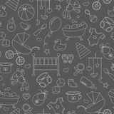 Seamless illustration on the theme of childhood and newborn babies, baby accessories and toys, simple contour icons, white contour. Seamless pattern on the theme Royalty Free Stock Images